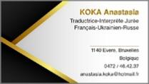 Anastasia Koka - traductrice-interprète jurée en français, russe et ukrainien en Belgique